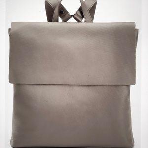 ef gray pebble leather backpack